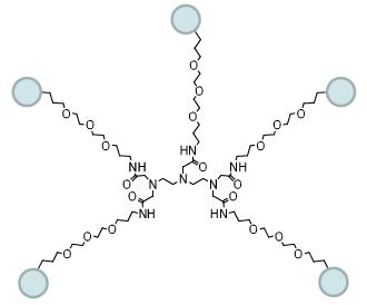 図3. 5つの同一の反応基を持つ第一世代の5価のPEGに基づくデンドリマー