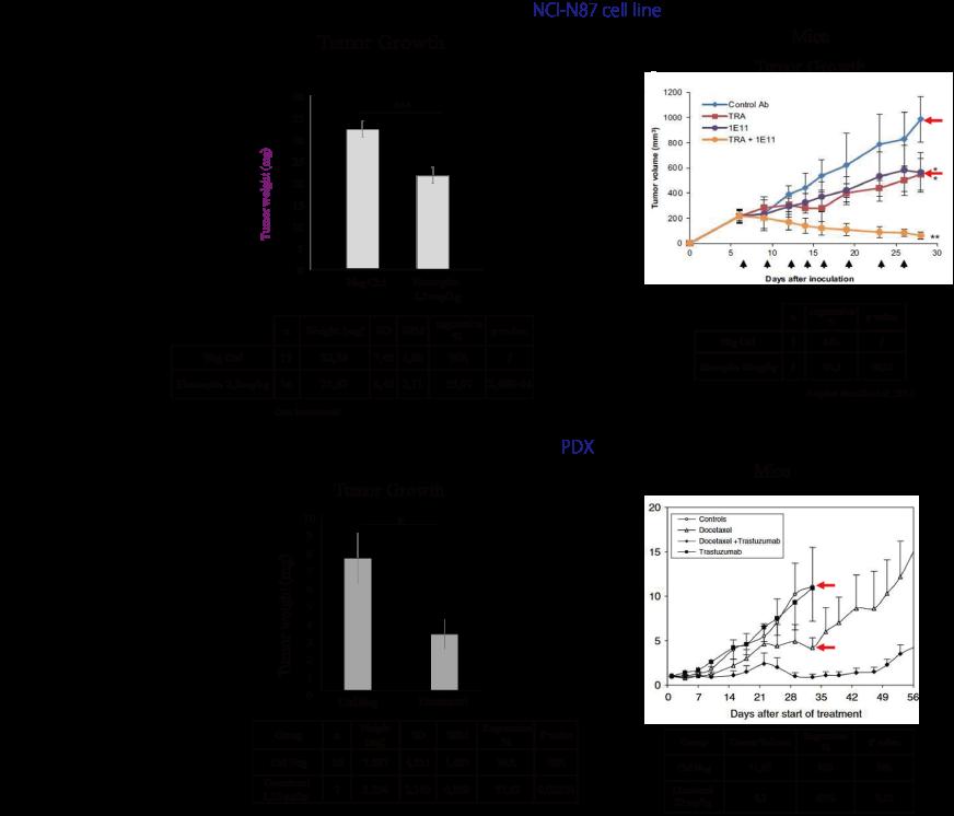 図5. がんの増殖抑制によるInovotionのモデルとマウスモデルの同等性の例