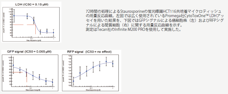 図3. 72時間の処理によるStaurosporineの蛍光標識HCT116共培養マイクロティッシュの用量反応曲線。