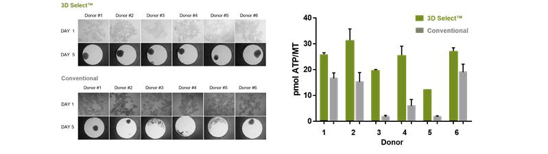 図 3. 3D Select™ プロセスと従来の3次元培養法の比較