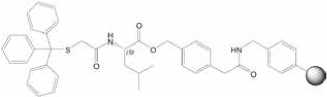 図1. 2-(Tritylmercapto)acetyl-L-leucinyl-PAM樹脂