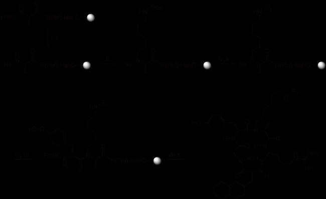 図2. 直交な関係にあるアミン保護基を用いたペプトイド(Pentixafor)合成