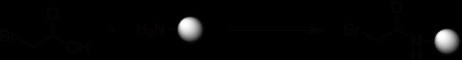 図1. Rink アミドレジンはDICを用いたブロモ酢酸とのカップリング反応で導入します。