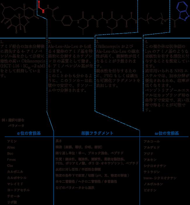 図1. カスタムリンカーと部位ごとに設定可能なパラメータ